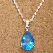 Wedding Jewelry Pear Cut Aquamarine Topaz White Gold Plated Pendant Chain