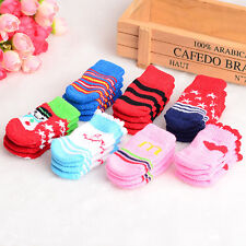 4pcs Dog Socks Indoor Shoes Puppy Pet Lovely Knitted Antiskid Winter Warm Soft