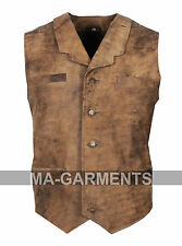 MENS REAL LEATHER BIKER WAISTCOAT Popular Party Waistcoat 100% High Quality.