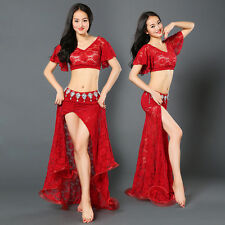 New Arrival 2016 Lace Belly Dance Costumes Stage 2Pcs Top&Long Skirt Slit M L