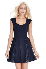 BNWT Ladies Navy Lace & Sequin Inset Party Skater Dress Size 8 10 12 14 RRP £65