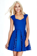 BNWT Ladies Royal Blue Lace & Sequin Inset Party Skater Dress Size 14 16 RRP £65