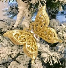 Gold Jewelled Diamonte Christmas Tree Hanging Decorations Bundle Butterfly