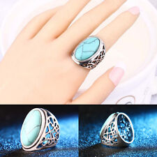 New Design Retro Hollow Turquoise Rings Fashion Boho Jewelry Finger Band Ring