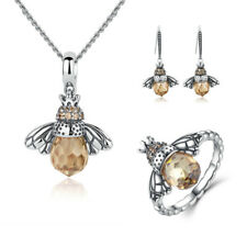 Xmas Gift 925 Sterling Silver Sparkling Bow CZ Charm Ring Earring Jewelry Set