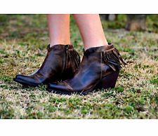 OLD GRINGO 8  Brown Leather Ankle Booties Fringed Cowgirl Shoes Zipper Boots NEW