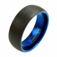 Men's Black Tungsten Wedding Band Ring with Blue Inside and Edges Comfort Fit