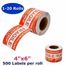 1-20 Roll of 500 4x6 Fragile Sticker Handle with Care Shipping Mailing Label Red