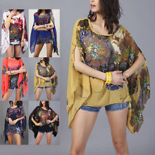 Summer Sexy Women Chiffon Floral Printed Blouse Batwing Sleeve Shirt Tops Plus
