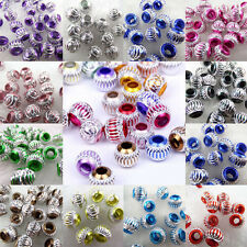 50-200X Stainless Carved Aluminium Spacer Loose Big Hole Bead European Charm 8mm