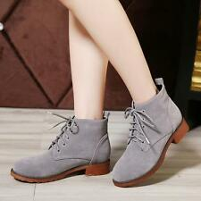 Women ankle Boot wedge Heel round toe lace up faux suede casual shoes#BLACK/GARY