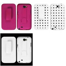 For Samsung Galaxy Note 2 N7100 Hard Matte Holster Belt Clip 2-Piece Case Cover
