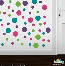 Purple / Turquoise / Lime Green / Hot Pink Polka Dot Circles Wall Decals
