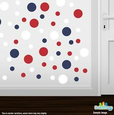 Red / White / Navy Blue Polka Dot Circles Wall Decals