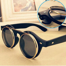 Steampunk Goth Goggles Glasses Retro Flip Up Round Sunglasses Vintage Black EA