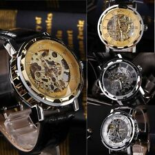 Men's Mechanical Wrist Watch Leather Band Sport Army Transparent Skeleton
