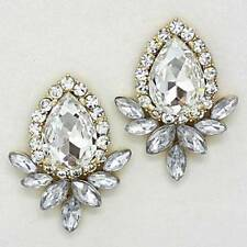 "Lovely Clear Crystal Glass Gold Tone Teardrop Flower Stud Post Earrings 1 ½"" L"