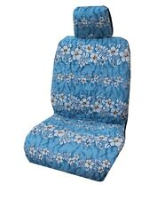 Light Blue Hibiscus Wave Separate Headrest Hawaiian Car Seat Cover