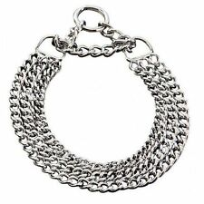 Triple Choke Dog Collar Anti Pulling Training stop Chrome steel FreeP&P