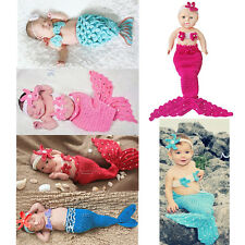 Girl Newborn Baby Crochet Knit Photo Prop Mermaid Tail Tops Outfit Costume 0-12M