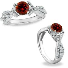1.50 Carat Red Diamond Crossover Solitaire Halo Promise Ring Band 14K White Gold