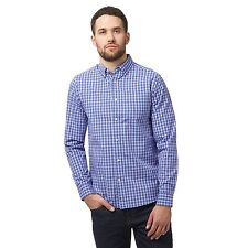 Maine New England Mens Big And Tall Navy Check Print Tailored Button Down Shirt