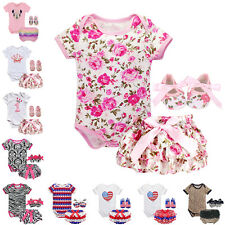 3PCS  Baby Girls Floral Romper Jumpsuit Bloomers Pants Shoes Set Party Outfits