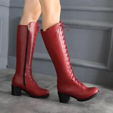 Womens Chunky Heel Lace Up Zip Knee High Boots Riding Knight PU Leather Riding