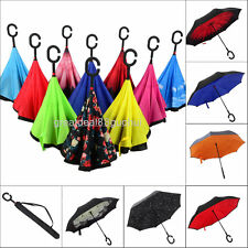 Double Layer Inside-Out Reverse Umbrella C-Handle Windproof Upside Down Inverted