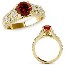 1 Ct Red Diamond Lovely Solitaire Halo Wedding Fancy Ring Band 14K Yellow Gold