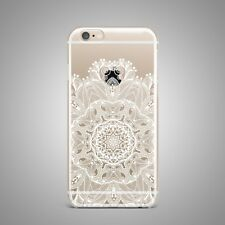 Boho Floral Mandala Soft TPU Rubber Silicone Clear Cover Back Case For iPhone