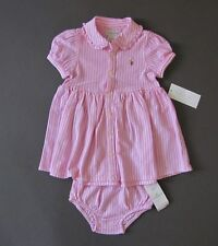 Ralph Lauren polo pony logo cotton dress Size 9 Months NWT Genuine