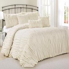 Beautiful Chic Ivory Ruched 7-Piece Comforter Shams Pillows Skirt Set King Queen