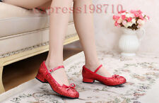Ladies Bowtie Lolita Cuban Heel Cosplay Party mary janes Glitter Sequins Shoes