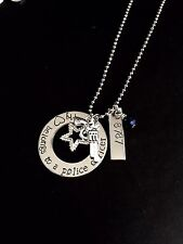 "Custom ""My heart belongs to a police officer"" Police wife Necklace Handstamp"