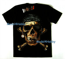 GRAPHIC T-Shirt Black Sz M L XL GHOST PIRATE SKULL BONE EARRINGS COMPASS TATTOO