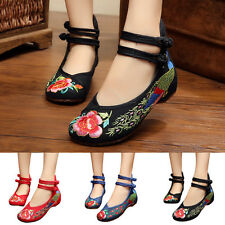Womens Retro Chinese Flats Embroidered Floral Ballet Loafer Flower Single Shoes