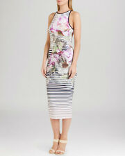 TED BAKER LAYA FLORAL AND STRIPE BODYCOM DRESS SIZE 3 UK 12