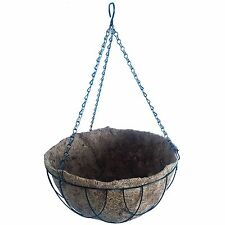 2x Lotus GREEN HANGING BASKET WITH LINER Natural Coconut Lining-30.5cm Or 35.5cm