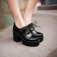 Womens Chunky Heel Platform Punk Pu Leather Lace Up Pumps Ankle Bootie Plus