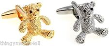 SILVER OR GOLD TEDDY BEAR CUFFLINKS SHIRT NOVELTY GIFT TED NEW PAIR HIGH QUALITY