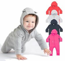 Infants Baby Boys Girls Fleece Babygrow Romper Play Suit Onsie with Hood