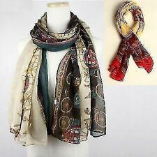 Carriage Voile Women's Wide Scarf Shawl Stole Wrap Neckerchief Tippet Accessory