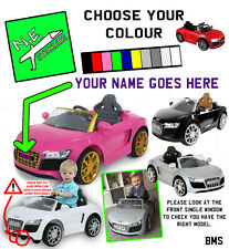 PERSONALISED FRONT kids number plate for ELECTRIC 6V Audi R8 toy car ride on