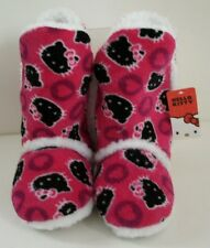 Hello Kitty Girls Pink & Black Sherpa Boot Slippers 11/12 NWT Free Shipping