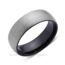 Brushed Tungsten Ring - Dome - Gray Brushed - Black - 8mm - Mens Ring - Comfort