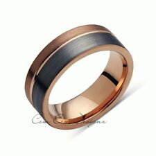Rose Gold Tungsten Wedding Band - Gray Brushed Tungsten Ring - 8mm - Mens Ring -
