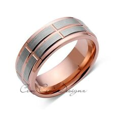 Rose Gold Tungsten Ring - Gray Brushed Wedding Band - 8 mm Ring - Unique Engagme