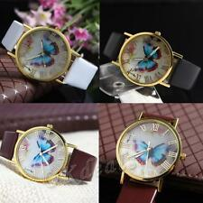 Numerals Fashion Butterfly Dial Quartz Analog Faux Leather Band Wrist Watch