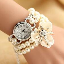 Girls Sweet Multilayer Pearl Chain Crystal Bracelet Bangle Quartz Wristwatch